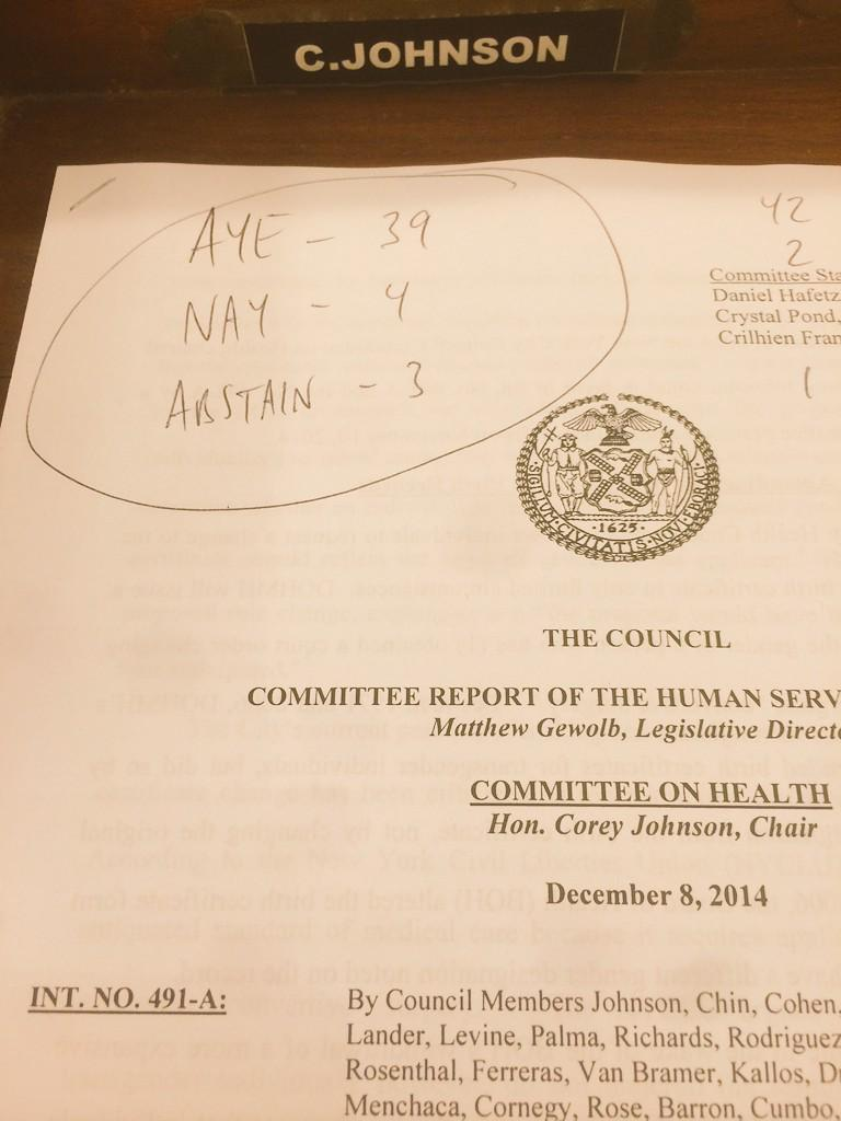 My bill to allow trans NYers to be able to change their birth certs to accurately reflect their gender PASSES 39-4-2! http://t.co/ogySBp5VxB