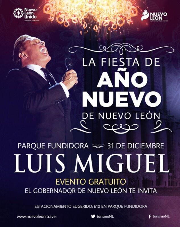 confirmamos a Luis Miguel como artista estelar de la #FiestadeAñoNuevo de @nuevoleon 31 de dic en @parquefundidora http://t.co/cN3GmlO6od
