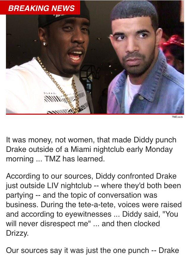 Diddy stuck Drake in Miami. Christmas came early this year. http://t.co/tXDwrXsmcd