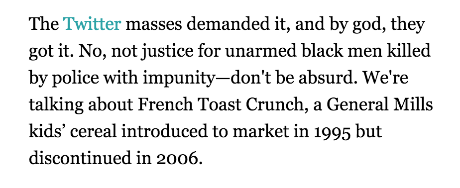 Cooper Fleishman (@_Cooper): The internet in 2014, summed up in this @milesklee lede about French Toast Crunch http://t.co/7aQxXZMnJ8 http://t.co/Ad24HIXftH