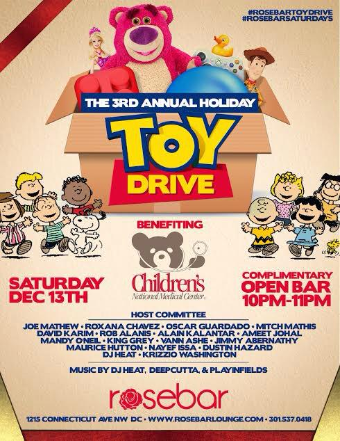 Saturday at @RoseBarDC for the 3rd Annual Holiday #ToyDrive benefitting the kids over at #ChildrensHospital. http://t.co/rbCautNcUL