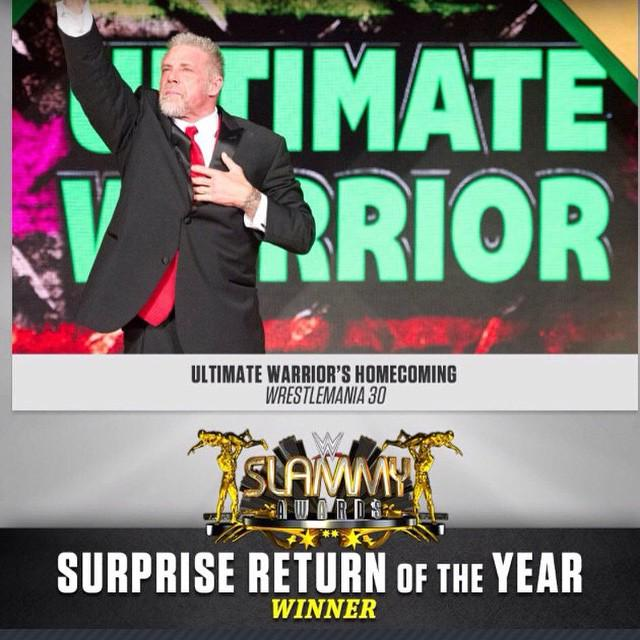 Thank you @WWE and to everyone in the #WWE Universe! Always Believe! Team Warrior #SlammyAwards http://t.co/WBsYLoXYu1
