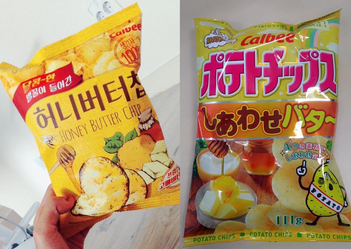 韓国でホットなお菓子と言えば、韓国と日本のお菓子メーカのコラボ商品 ハニーバターチップ。売れすぎて簡単に手に入らないほどの人気ぶりです。人気の秘密は塩味と同時に甘味と香ばしさを加味した点。今年、韓国のお土産は間違いなくこれですね! http://t.co/jT9yhujsSK