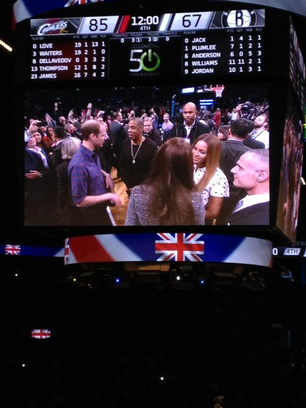 A royal gathering: The royals and Bonnie and Clyde meeting and shaking hands in between 3rd and 4th quarters here http://t.co/38glTO7YKg