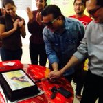 Jatin-Lalit at the Mirchi studios coming together after a very long time! And we got them a cake for #1000weeksofDDLJ http://t.co/drnvLmWWGA