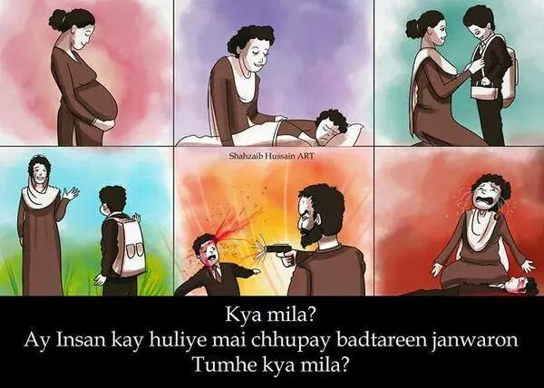 Pretty much sums up the story of today's traumatic tragedy #PeshawarAttack #PeshawarAttack (via Shahzaib Hassan Art) http://t.co/v1EXvyK3Tx