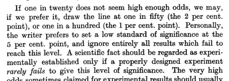 Why is the common level of statistical significance 5%? Because Fisher had this personal preference in 1926. http://t.co/SVX4DLAmSM