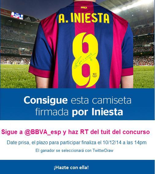 Sorteamos una camiseta de #AndresIniesta firmada de su puño y letra entre todos nuestros followers, ¡participa! http://t.co/RnoZZss4yt