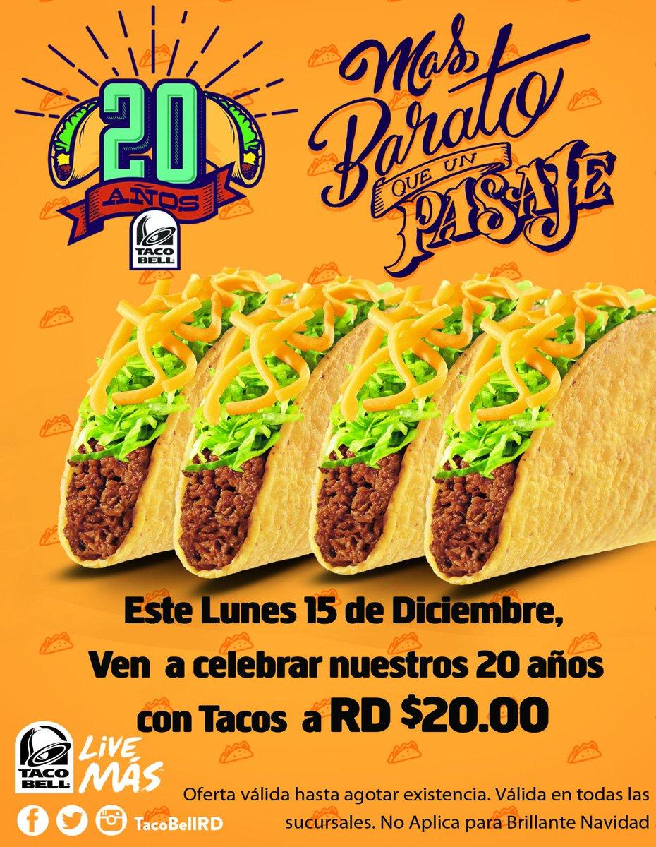 Tacos a $20 Mas barato que un pasaje!! #20AniversarioTB este lunes 15 de Diciembre Celébralo con nosotros http://t.co/NFyg7Pq8wc