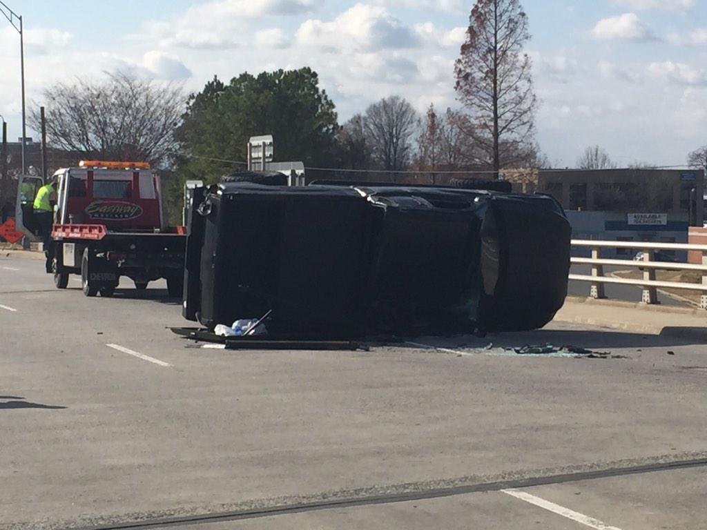 Cam Newton's car overturned just above I 277 http://t.co/i5UjckyfbF