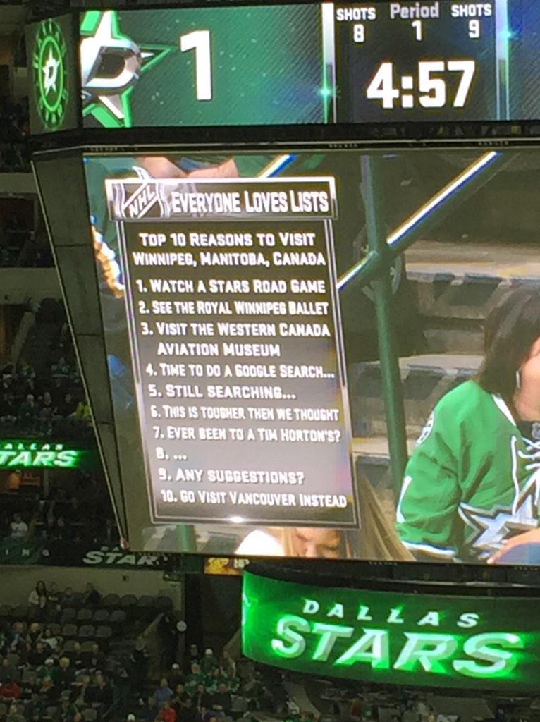 Via @dnadders, the Dallas Stars came up with this witty list during a 1st period TV timeout. http://t.co/MykF9qMCgu