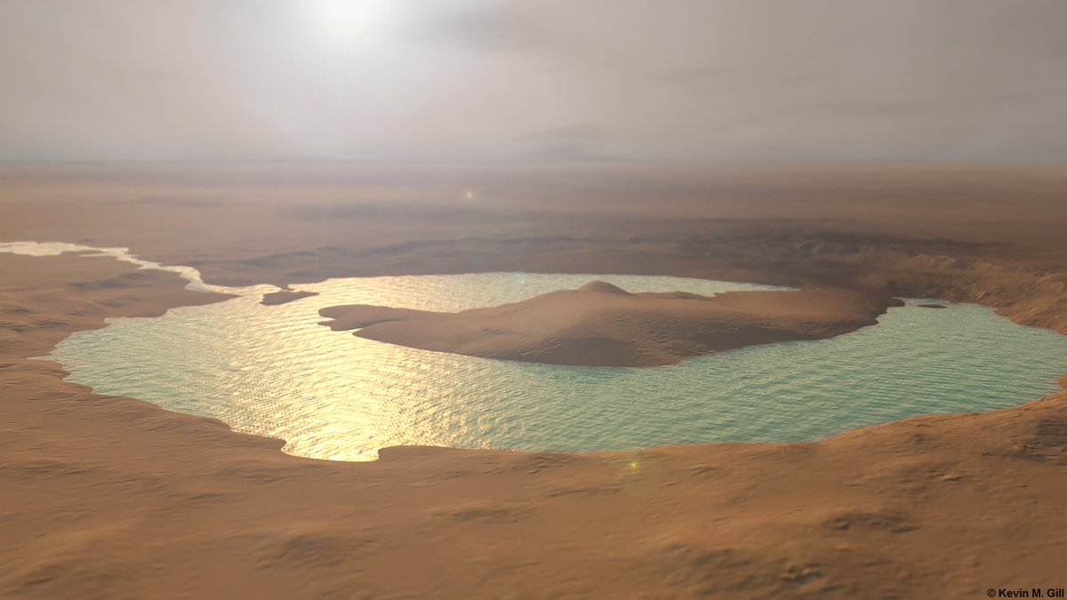 """AMAZING rendition by @kevinmgill of the """"Pond"""" at  #GaleCrater on #Mars https://t.co/mV9MIFA8o1 http://t.co/B9QkvxK5I9"""