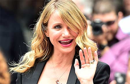 Annie star Cameron Diaz flashed her ring on Tuesday, amid continuing engagement rumours
