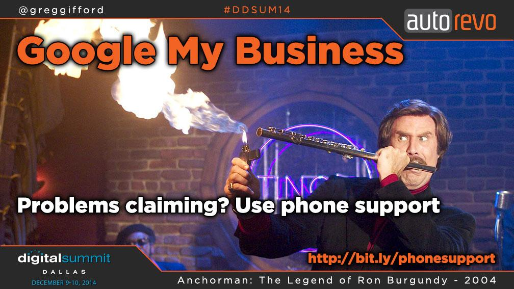 If you're having problems claiming your listing, use Google My Business Phone support.  @greggifford #DDSUM14 http://t.co/8pYmqrYwAh