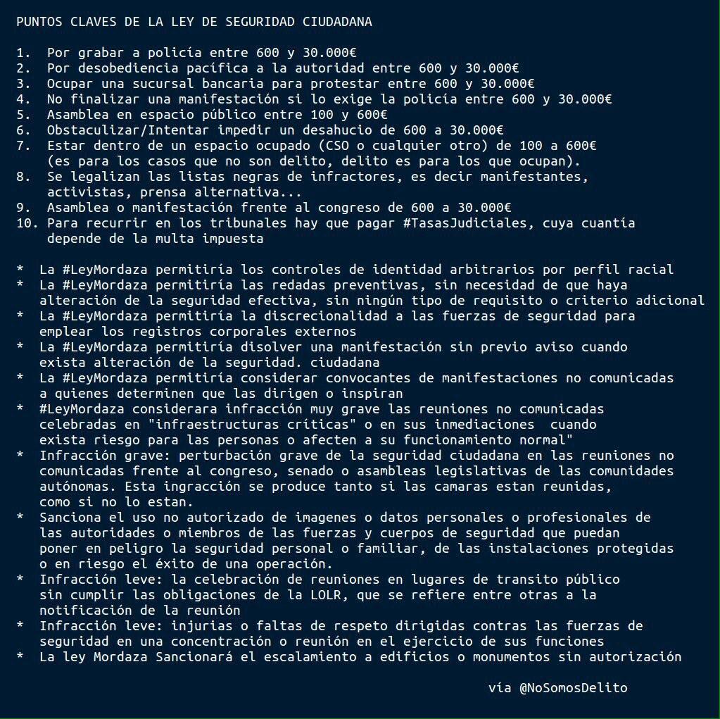 00.00. Hoy jueves se aprueba la ley Mordaza, eufemísticamente llamada de Seguridad Ciudadana. http://t.co/KMbiFdzOJ7 http://t.co/uoERHpO3qj