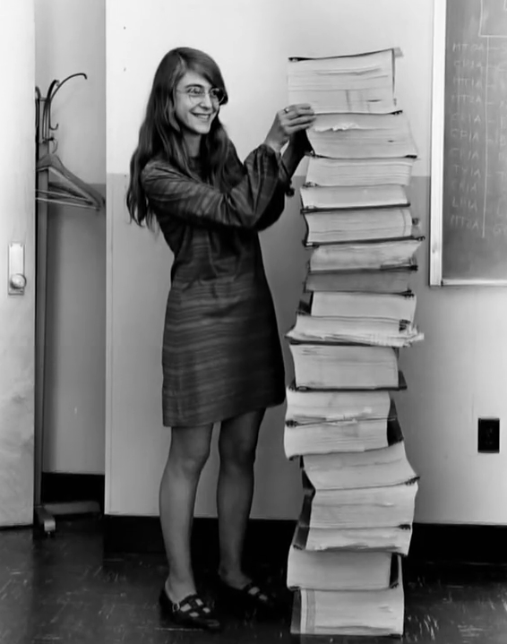 Learning today for the first time about Margaret Hamilton https://t.co/kiSkU2VWUV pictured here with her source code: http://t.co/qvHiQhPLTr