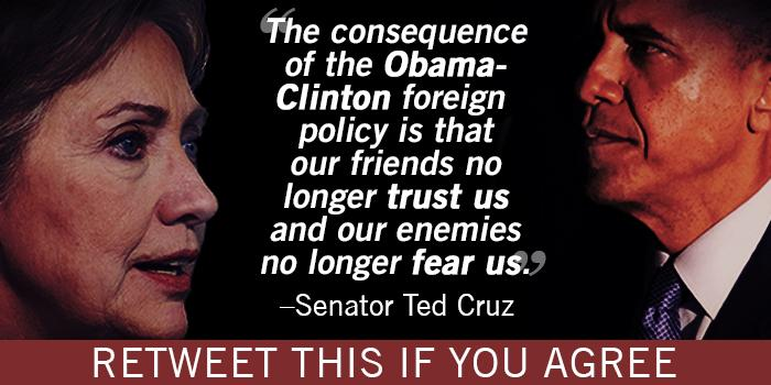 """@SenTedCruz: We must reverse this disastrous foreign policy and bring back strong American leadership in the world! http://t.co/qzGz46EoCg"