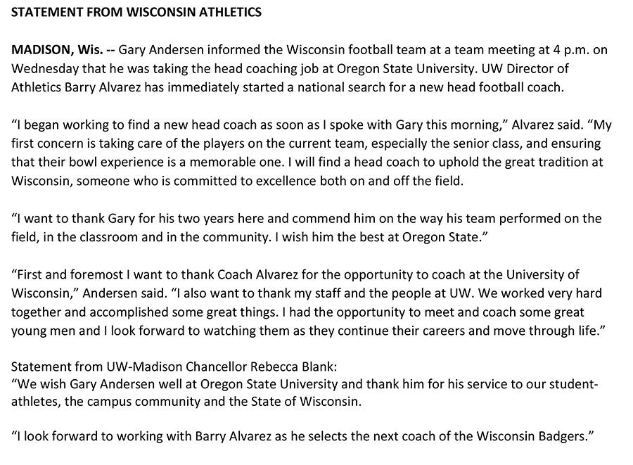 Statement on #Badgers head coach http://t.co/lA9MgvP66F