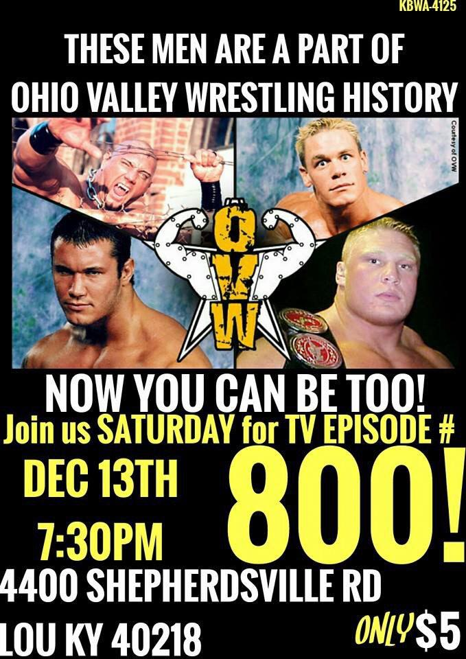 Hey @DaveBautista, @JohnCena, @RandyOrton, & @BrockLesnar! OVW Tapes Ep 800 THIS SATURDAY 12/13. Shout out? Memories? http://t.co/BELPqgTZRS