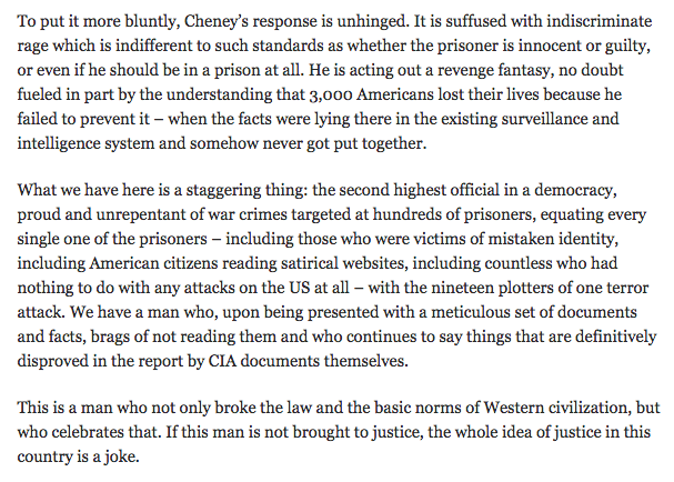 .@sullydish: Dick Cheney's response to #torturereport is unhinged; he's now an exposed liar: http://t.co/oEnZJM4WU4 http://t.co/nCgoMqq33v
