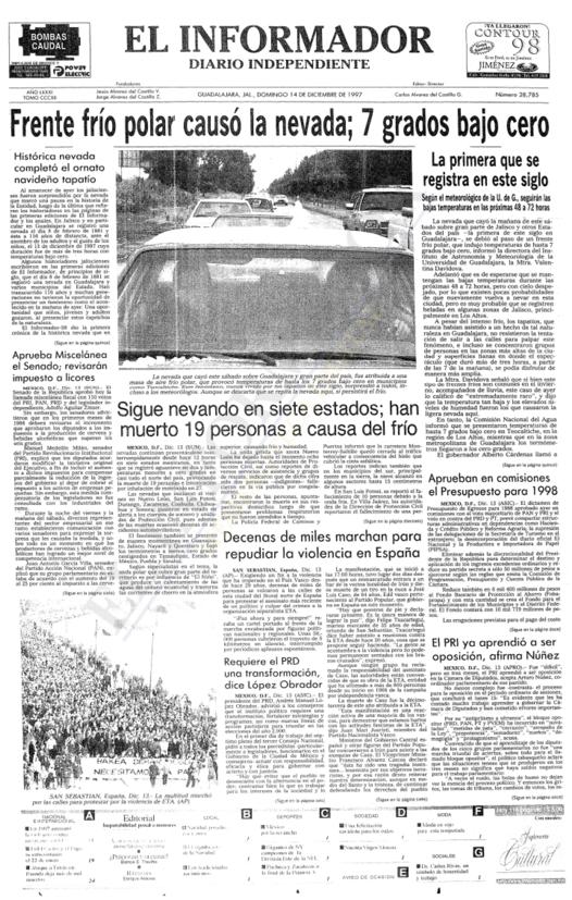 Un día como hoy pero del año 1997 cayó la única nevada en GDL en los últimos 133 años. La anterior había sido en 1881 http://t.co/QE2L5FUTFQ
