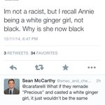 Lmao some are so pressed that Annie is black but God forbid ppl complain about the white washing in the Exodus movie http://t.co/Wz6McNAVq3