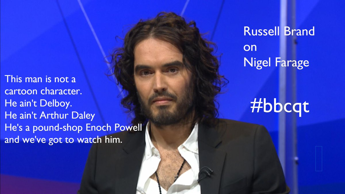 Russell Brand says we should be wary of politicians like Nigel Farage. #bbcqt http://t.co/sBSmuGHNvp