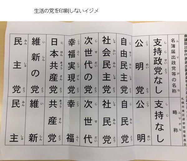 @guardian  日本では、不正選挙が行なわれています。 http://t.co/vja0E6GjmZ この投票用紙を見て下さい。生活の党が意図的に表示されていません。