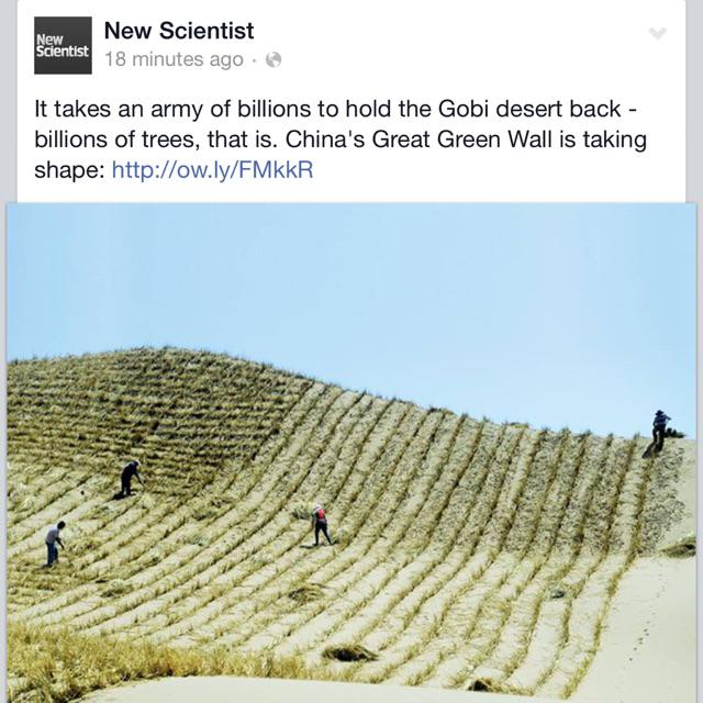 China aims to plant 100billion trees to hold back the Gobi desert... #innovation http://t.co/Hs42237d5y
