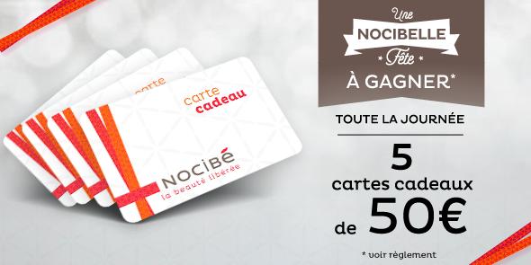 #JEU Toute la journée, 5 cartes cadeaux de 50€ à gagner : http://t.co/IJbPcHkTJn #NocibelleFete Merci Papa Noel ! http://t.co/Q6NiRJr1K9