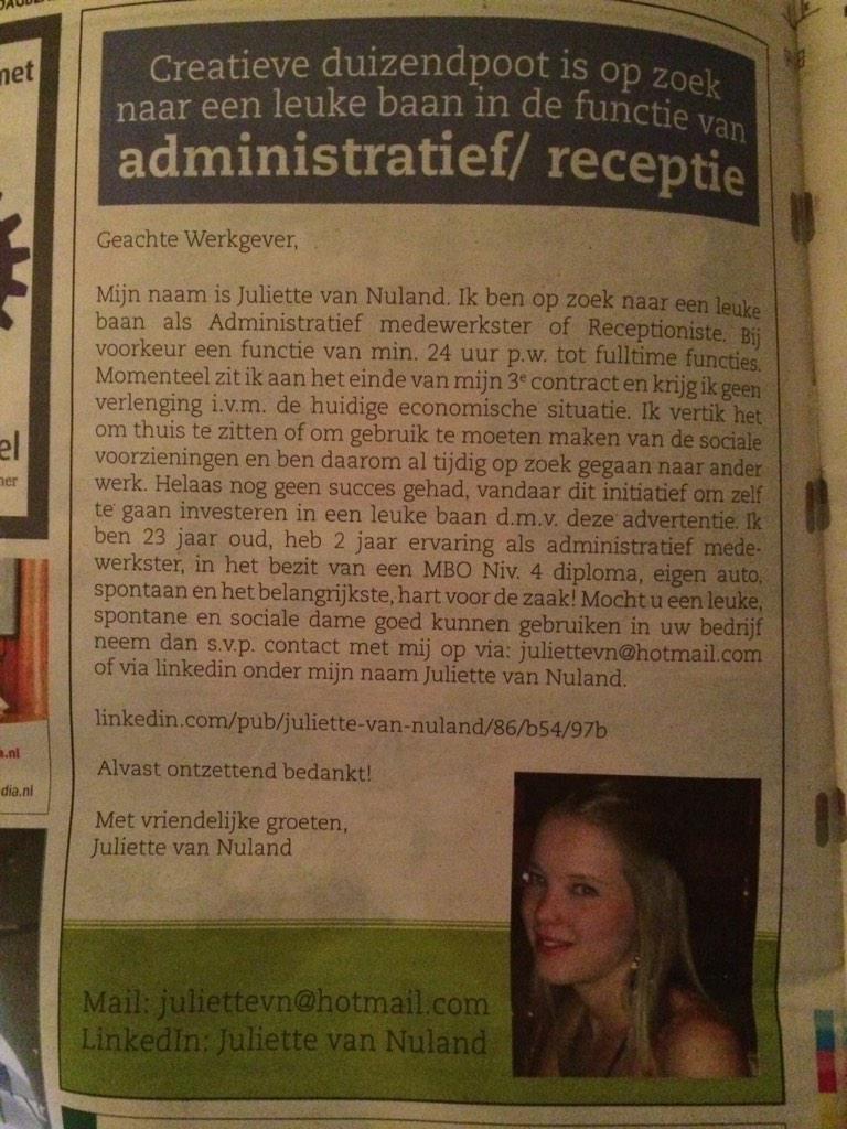 """Verdient een RT :-) RT @SterkTeam: """"Open sollicitatie. #lef #stoer Zullen we deze trending maken: http://t.co/APzArSeEk4 via @PeterterHorst"""