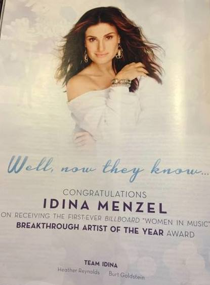 Congratulations to @idinamenzel on her @billboard #WomenInMusic Breakthrough Artist of the Year Award! So deserved. http://t.co/ZUrGWTvYcq