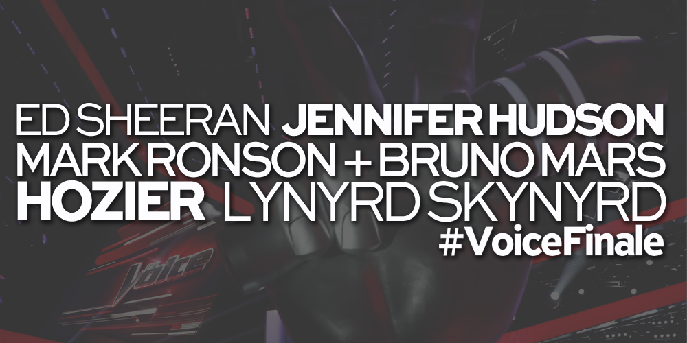 RT @NBCTheVoice: Guess who's coming to the #VoiceFinale? @edsheeran @MarkRonson + @BrunoMars @Hozier @IAMJHUD & @Skynyrd! http://t.co/TmPId3SICv