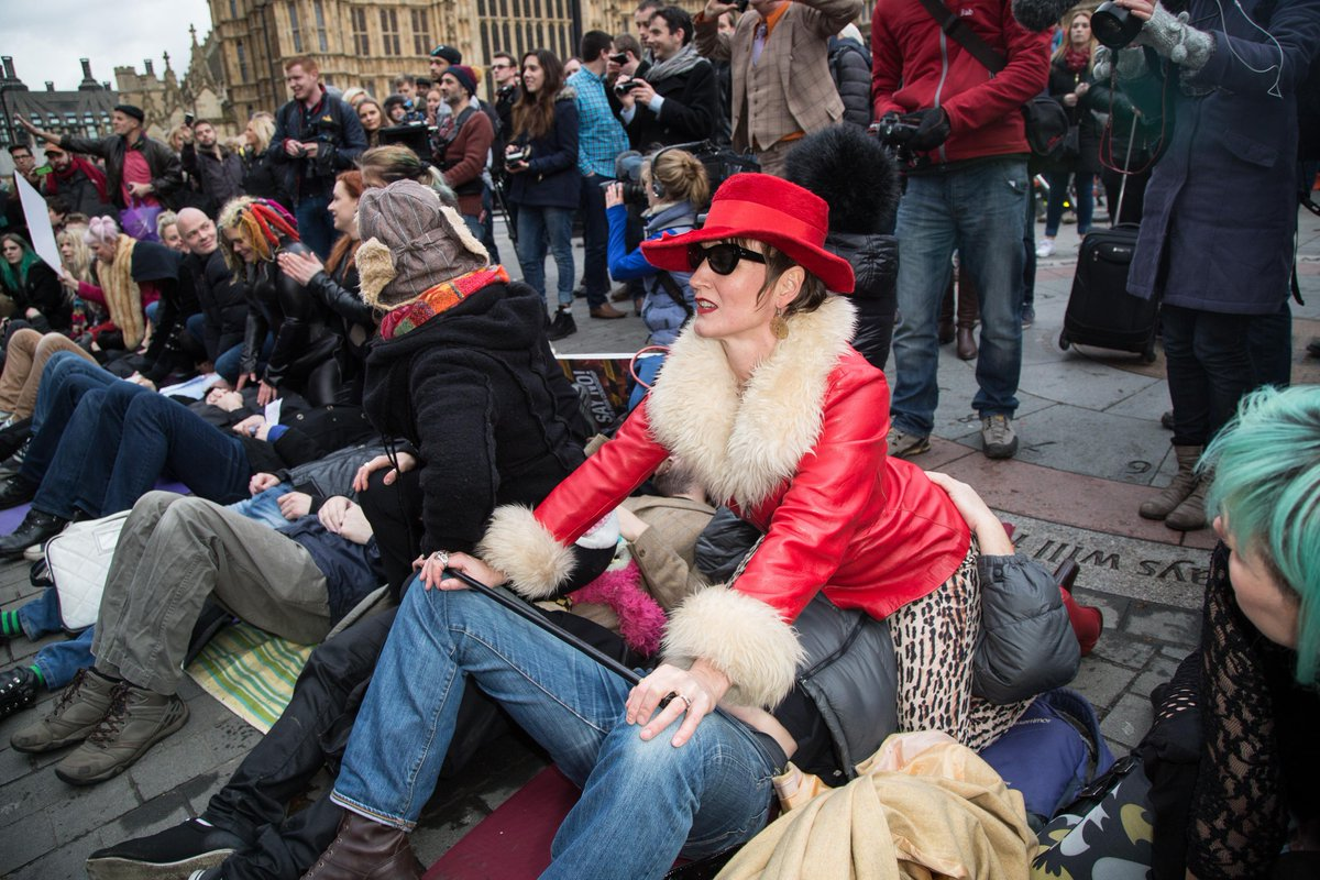 Porn campaigners stage 'face-sitting' protest outside uk ...