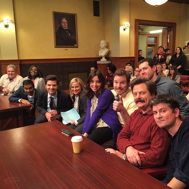 Our last day filming on Parks and Rec. I'm gonna miss this glorious cast and crew very much. #ThankYouParksCrew http://t.co/aQoNxj6HGE