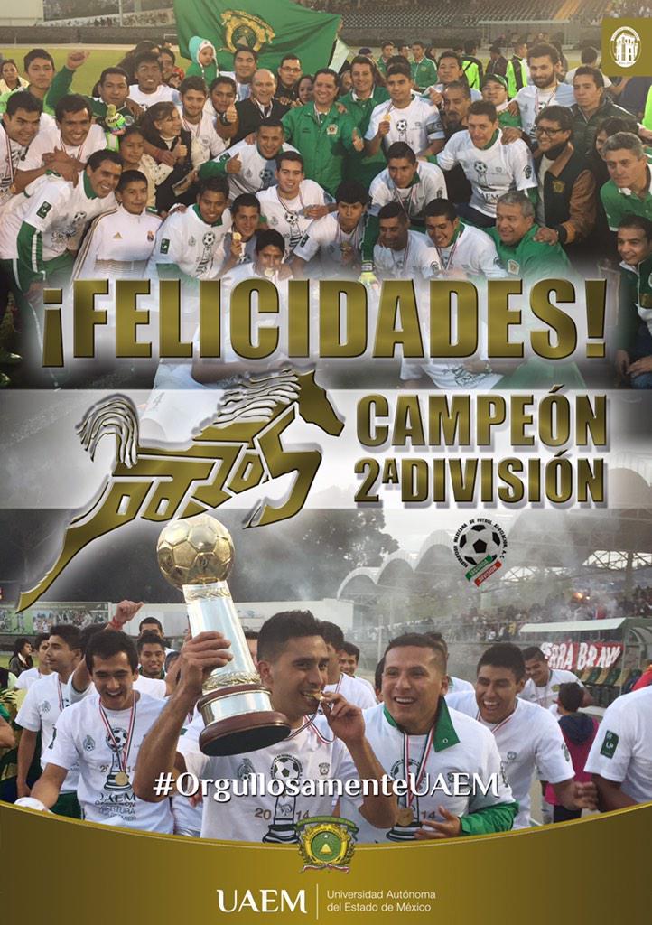 ¡Felicidades Potros! Campeones de la @SegundaDivFMF #OrgullosamenteUAEM http://t.co/iSADsFvqI5
