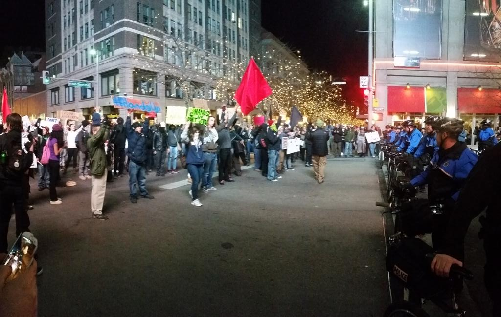 Tensions getting high in #Denver for #MillionsMarchNYC as police face of against protestors and routes shift rapidly http://t.co/tcnIxRn63d