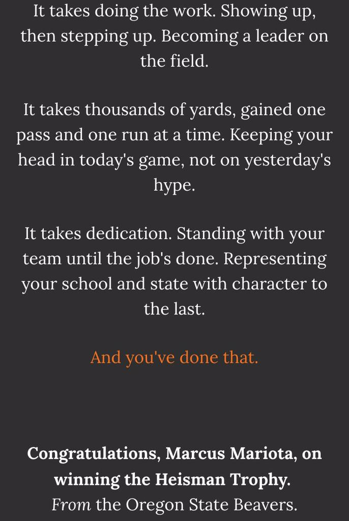 Well done, Oregon State, for this ad in the @Oregonian: RT @sean2m: Classy letter from @oregonstateuniv to Mariota: http://t.co/IhUDeUfdNn