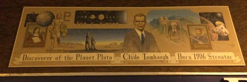 Mural honoring Clyde Tombaugh, discoverer of Pluto, at Don's Furniture, Streator, IL. @NewHorizons2015 @plutokiller http://t.co/FumsQAVqDa