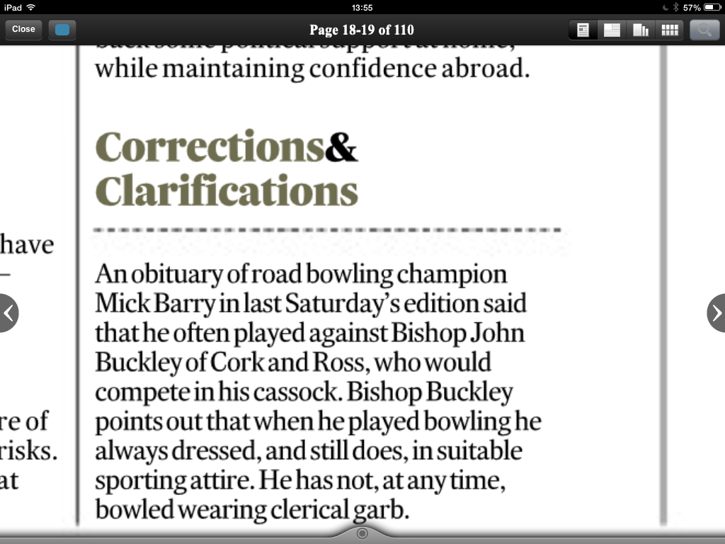 A late contender for Best Newspaper Correction of 2014 from @IrishTimes #episcopalsportswear http://t.co/6eVxLvwLsY