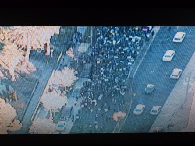 Thousands marching  in #LA demontrating alleged police misconduct. Protest march is 3 blocks long. http://t.co/TFqX3sEfDu