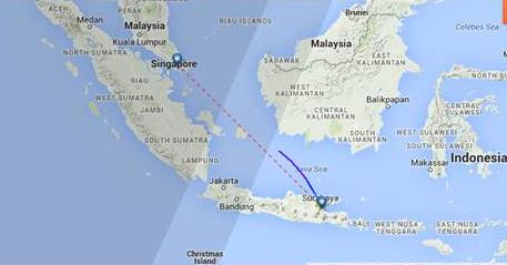 Projected path for @AirAsia flight QZ8501 that was en route from Surabaya, Indonesia, to Singapore. Search under way. http://t.co/7y0QVTXwRN