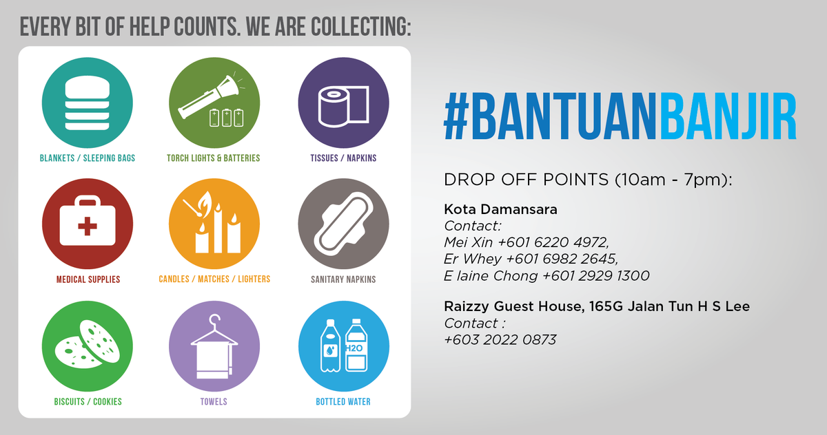 #bantuanBANJIR Pulling together some resources for flood victims on the east coast of Msia. Every bit counts. http://t.co/3rHVBj4XMz