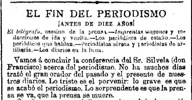 El fin del periodismo por culpa…del telégrafo. Terrores de 1927 http://t.co/BLY42FQU01
