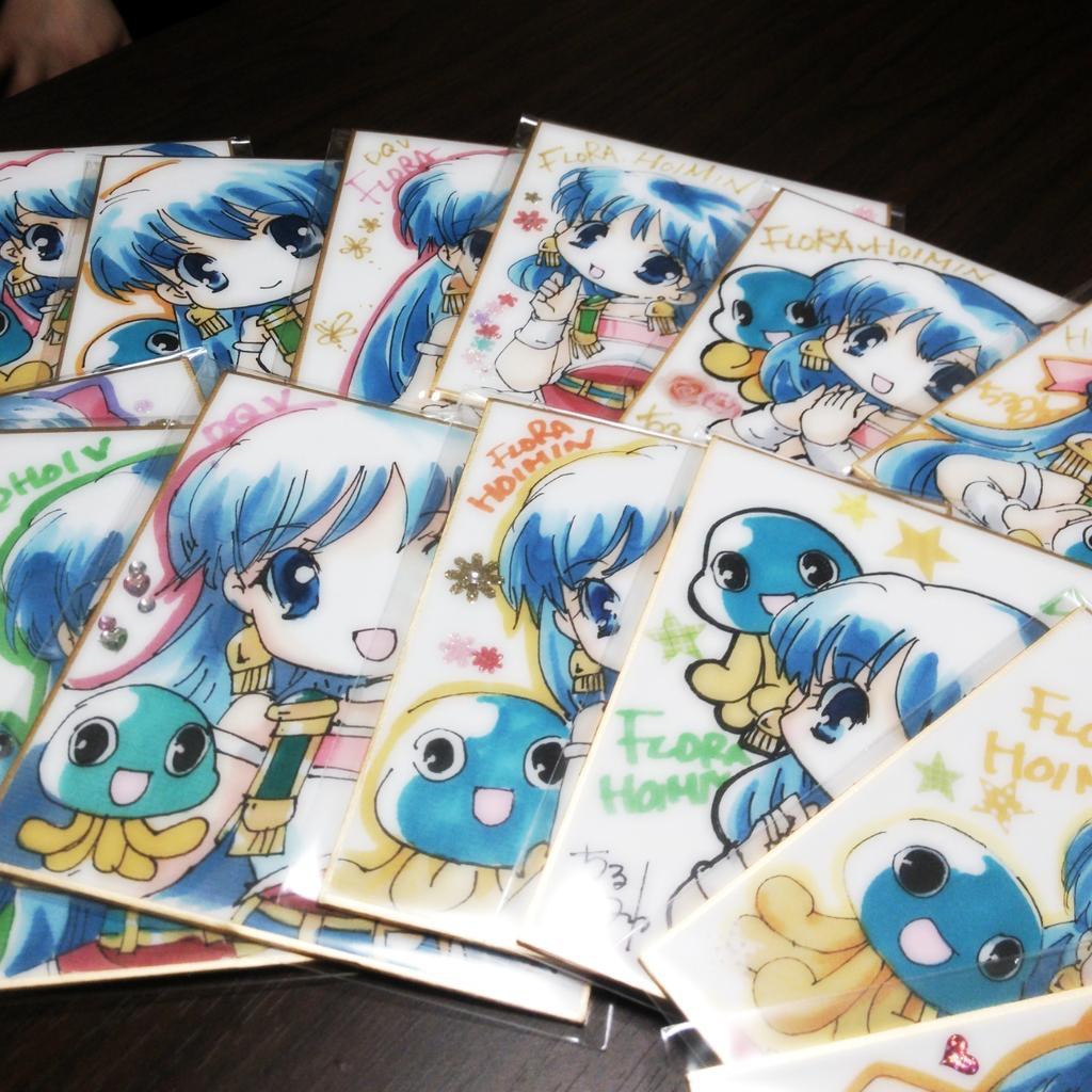 気合で描きました!フローラの色紙、15枚! http://t.co/wnxQIVdN9l