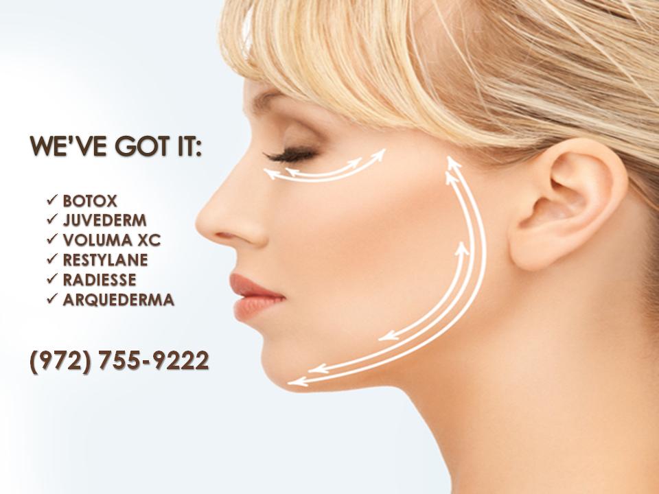 #Botox , #Juvederm , #VolumaXC , #Restylane , #Radiesse , #ArqueDerma .. you name it, we've got it!  (972) 755-9222 http://t.co/3s3lY2DDQe