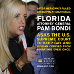 MATH: FL AG Pam Bondi blocking marriage equality. 2 ex-husbands + 1 ex-fiance = model for stability? Nope. #callitout http://t.co/aSQGgNyw79