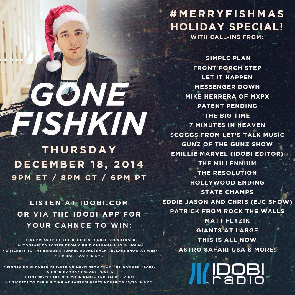 Hot damn, we're giving away a signed drumhead from @twypoppunk on @GoneFishkin @idobiradio for #MerryFishmas http://t.co/04pbeZZFK5