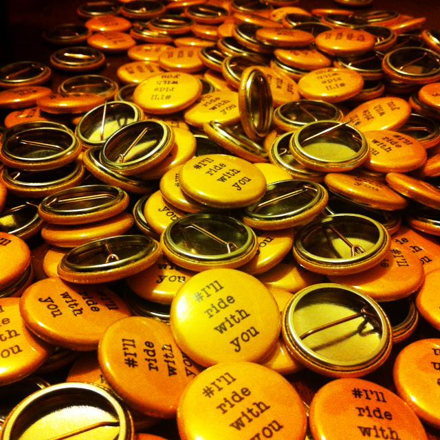 #IllRideWithYou badges by great local  business Make Badges handed out TODAY: 4.30 Flinders St Station ❤️@stephspeirs http://t.co/W74TI0KCng