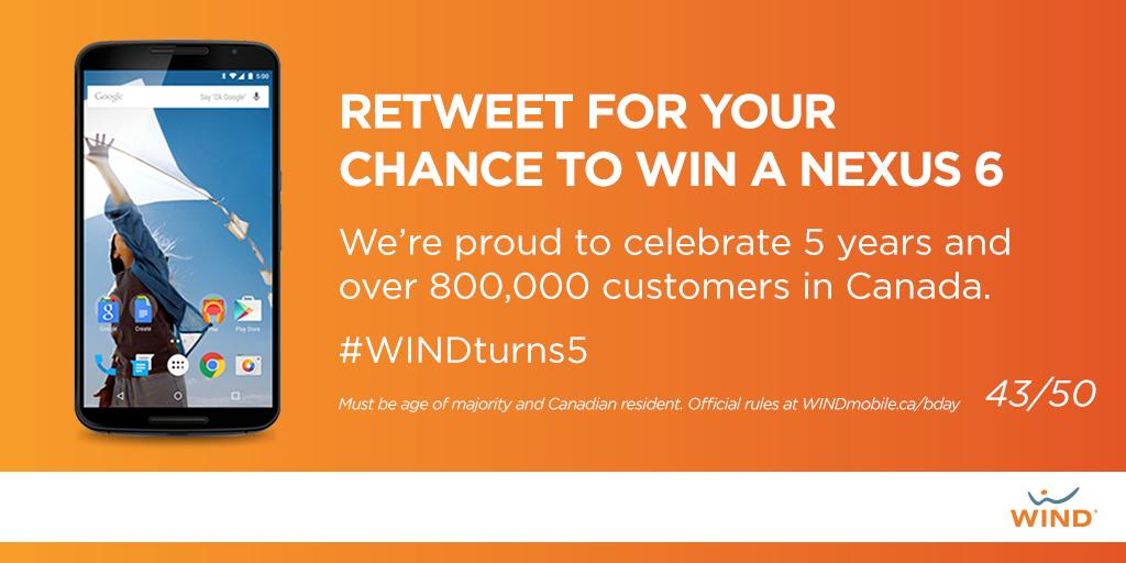 """@WINDmobile: RT this post in the next 5 mins to #WIN the 43rd #Nexus6 of 50! #BirthdayGift http://t.co/b1z7goc0o9"""